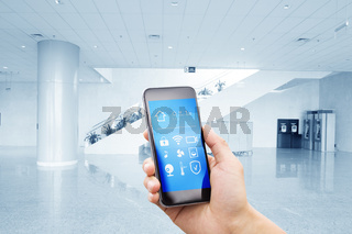 smart phone with smart home with modern center hall