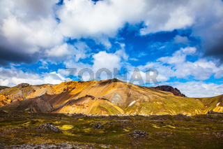 Rhyolite mountains - orange, yellow end green