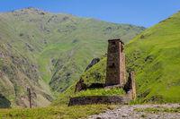 Old Tower in Sno, Kazbegi, Georgia