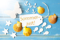 Sunny Summer Greeting Card With Sommerzeit Means Summertime