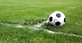 Soccer Ball Closeup On A Stadium Corner