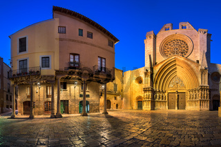 Panorama of Saint Mary Cathedral in the Evening, Tarragona, Catalonia, Spain