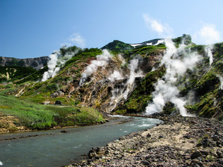 Panorama of Geysers Valley in Kamchatka peninsula Russia