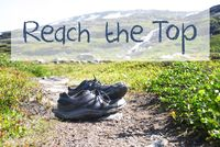Shoes On Trekking Path, Text Reach The Top