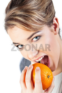 Young woman with orange