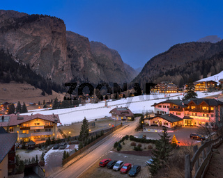 Aerial View of Selva Val Gardena in the Evening, Val Gardena, Dolomites, Italy