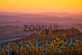 Agricultural landscape of Croatia sunset view