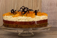 Orange cake on a wooden table