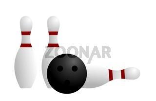 Illustration ball and pin of bowling
