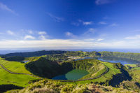 View from Miradouro da Boca do Inferno to Sete Citades, Azores, Portugal