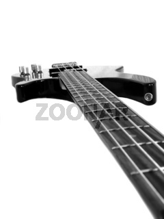 Black 4-string bass guitar isolated on white