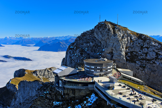 Hotel Pilatus Bellevue, Pilatus massif,sea of clouds over Lake Lucerne, Switzerland