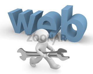 Small man with a wrench and the word web