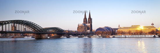 river Rhine, Hohenzollern Brigde and Cologne Cathedral, Cologne, Rhineland, Germany, Europe
