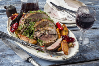 Leg of Lamb with Vegetable and Fruits