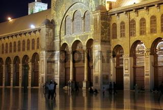 Die Gebetshalle der Umayyad Moschee in der Altstadt der Syrischen Hauptstadt Damaskus