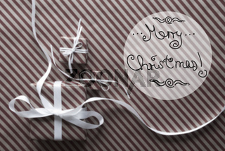 Brown Gifts With Ribbon, Text Merry Christmas