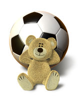 Nhi Bear relaxes with Soccer Ball