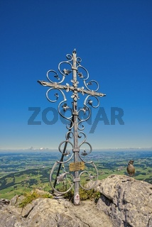 Panorama vom Grünten, 1738m, ins Illertal, Allgäuer Alpen, Oberallgäu, Allgäu, Bayern, Deutschland, Europa