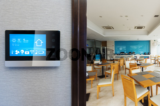 smart screen with smart home with modern cafeteria