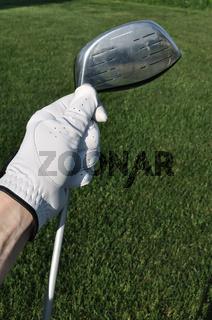 Golfer Wearing a Golf Golve Holding a Metal Driver