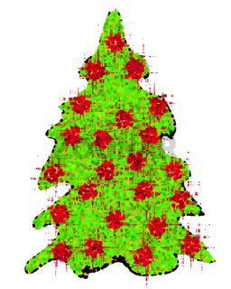 Weihnachtbaum mit roten Kugeln