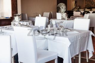 white interior of sicilian restaurant