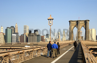 Auf der Brooklyn Bridge, Manhattan, New York, USA