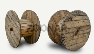 wooden coil for wires.