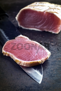 Tuna Tataki Steak on old Sheet