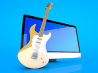 A All in one computer with a Guitar
