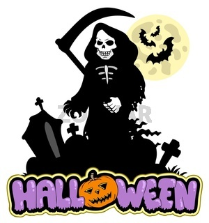 Grim reaper with Halloween sign - color illustration.