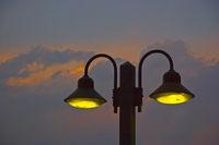 Street lighting in the blue hour