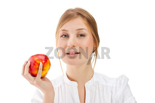 Beautiful woman holding apple, isolated on white background