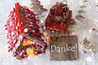 Gingerbread House, Sled, Snowflakes, Danke Means Thank You