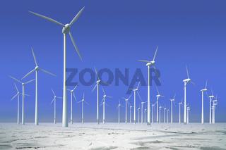 Windkrafträder in gefrorenem Wasser, Offshorepark zur Energieerz