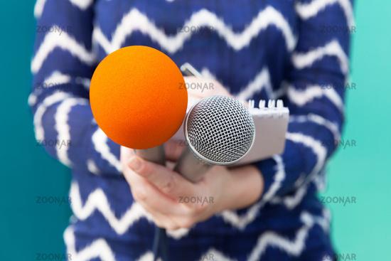 Public relations - PR. Journalist. News conference.