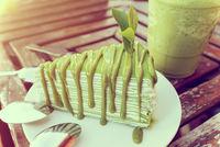 Vintage style matcha cake