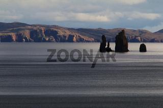 The Drongs seen from Braewick, Eshaness peninsula, Shetland, Scotland