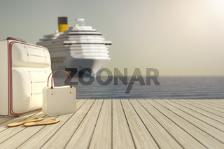 some luggage and a cruise ship in the background
