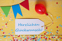 Party Label, Confetti, Balloon, Herzlichen Glueckwunsch Means Congratulations
