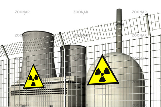 Nuclear power plant behind a barrier fence with warning signs for radioactivity against a white background