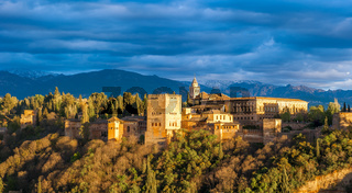 Panorama view of Alhambra palace, Granada, Spain