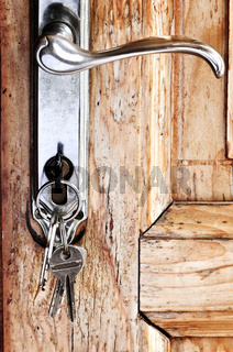 Door handle with keys