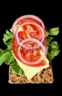 Rye Cracker With Ham And Salad