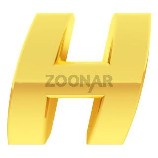 Gold alphabet symbol letter H with gradient reflections isolated on white. High resolution 3D image