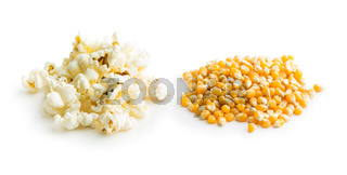 Popcorn and corn seeds.