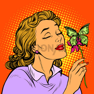 Woman and butterfly money. the concept of charity