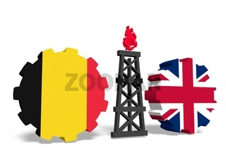 belgium and britain flags on gears, gas rig between them