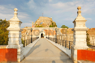 The gate of old fortress at Corfu, Greece
